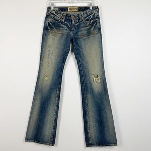 Big Star Sweet Distressed Low Rise Flare Jeans 27